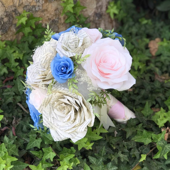 Wedding Bouquet in Blush and blue filter paper flowers and Book Page Flowers