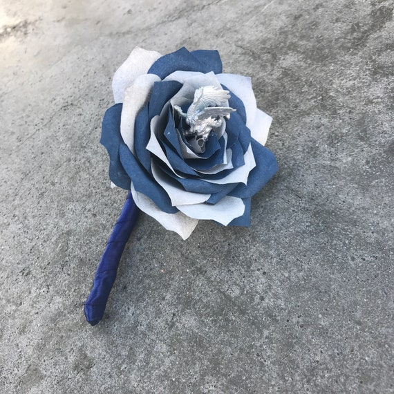 Dragon boutonnière - Paper flower wedding boutonniere shown in navy blue & silver - customizable colors