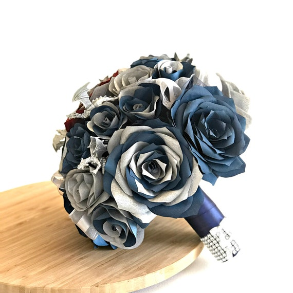 Silver & navy blue paper flower dragon bridal bouquet - Customizable colors