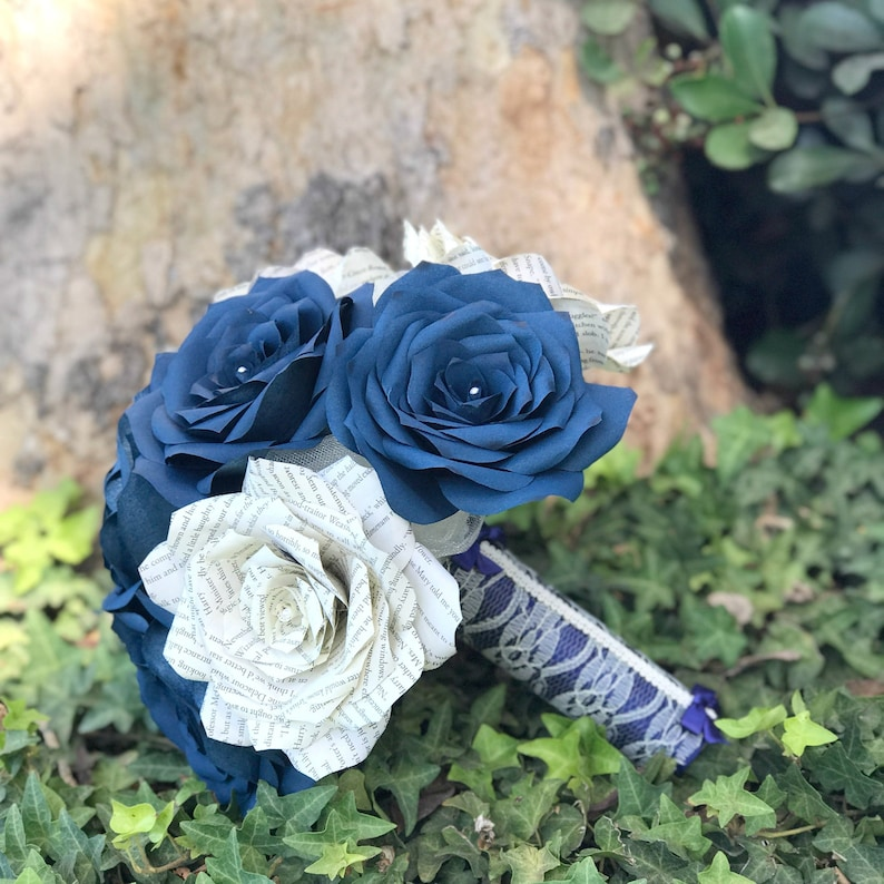 Book Page Paper Rose Bridal Bouquet in Navy Blue and Natural  25cdbfab2ac