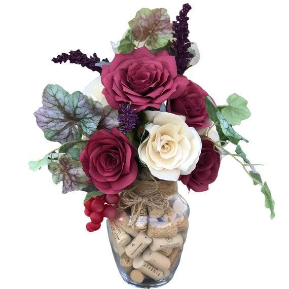 Wine Cork Paper Flower Arrangement
