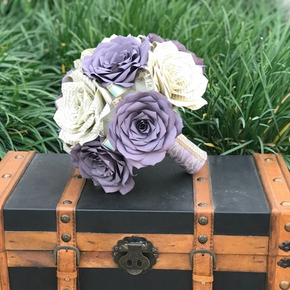 Paper book page wedding bouquet and filter paper roses - Color choices or customizable
