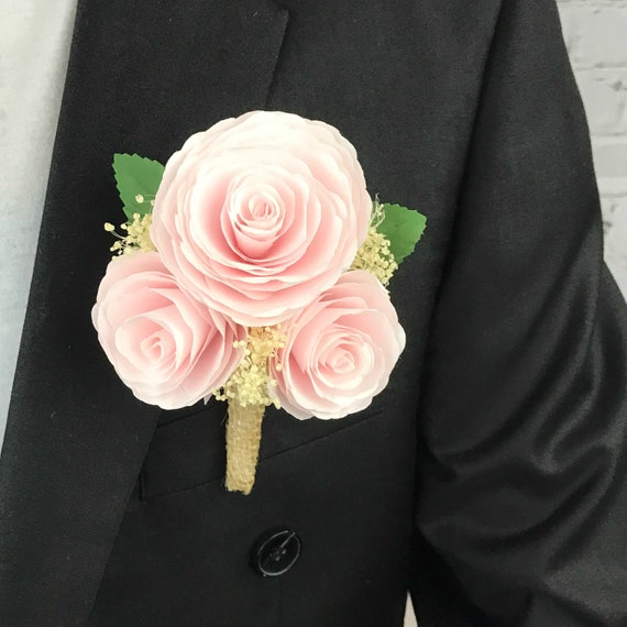 Paper Peony Corsage or Boutonniere shown in Blush