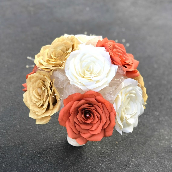 Burnt orange, ivory and gold paper rose bouquet - customizable colors and sizes