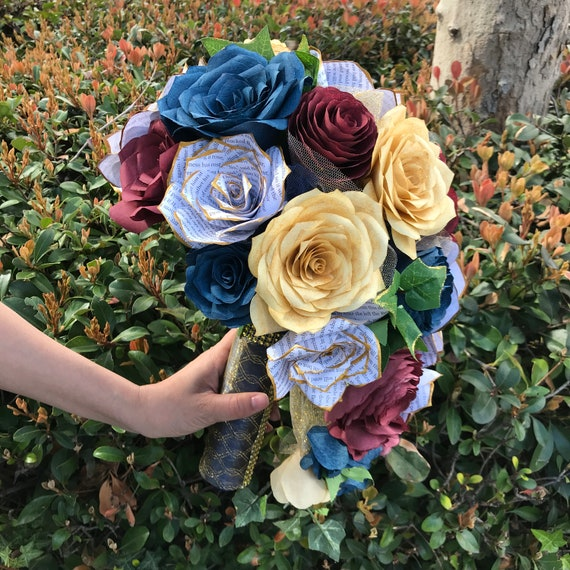 Cascading Bridal Bouquet shown in burgundy, gold and navy blue paper roses and peonies - Customize your colors