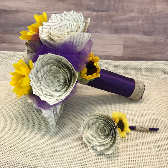 Sunflowers and Paper Book Page Rose Bouquet - Choose your ribbon and tulle color
