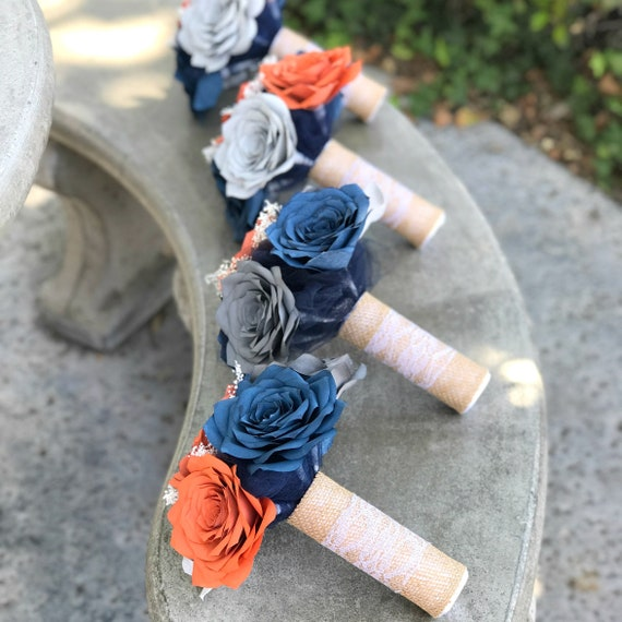 Wedding bouquet package in burnt orange and navy blue paper flowers - Cascading, toss, and bridesmaid bouquets with matching boutonnieres