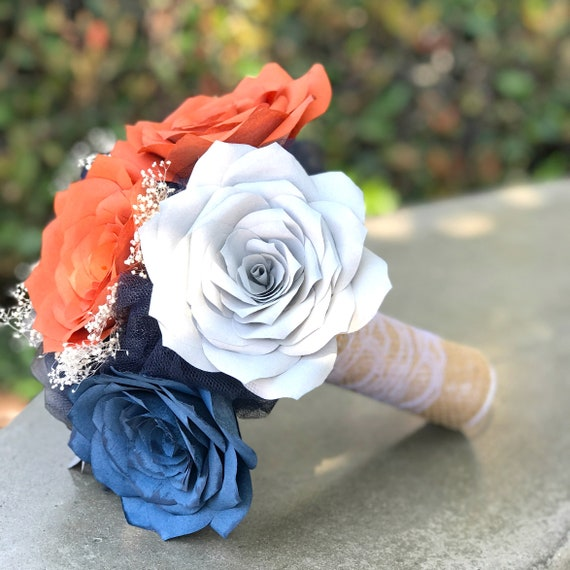 Rustic Wedding Bouquet shown in Burnt Orange, Navy blue and Gray Paper Roses