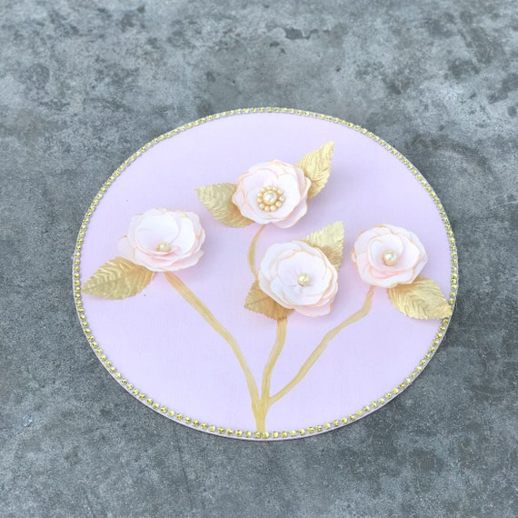 Gold and blush 3D floral art - Nursery decor - Girl's room floral decor