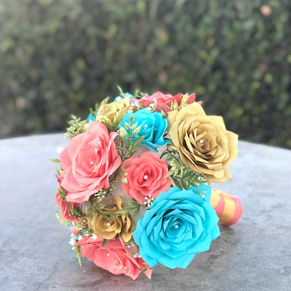 Bridal bouquet in gold turquoise and coral paper flowers and etsy image 0 mightylinksfo