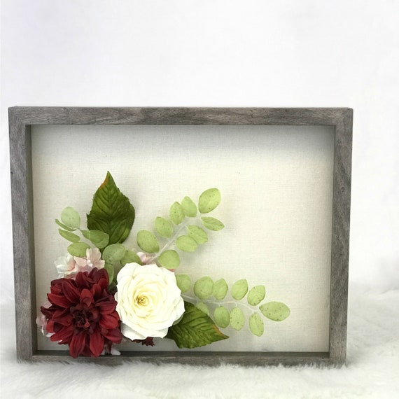 3D flower picture in burgundy and ivory