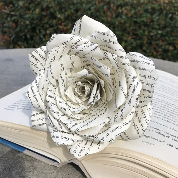 Book page paper rose - Sold individually in 3 or 5 inch size