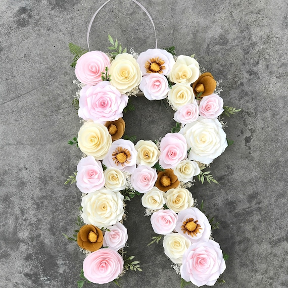 Floral Letter - Blush and gold paper flower Wedding initial - Nursery decor - Customizable Colors