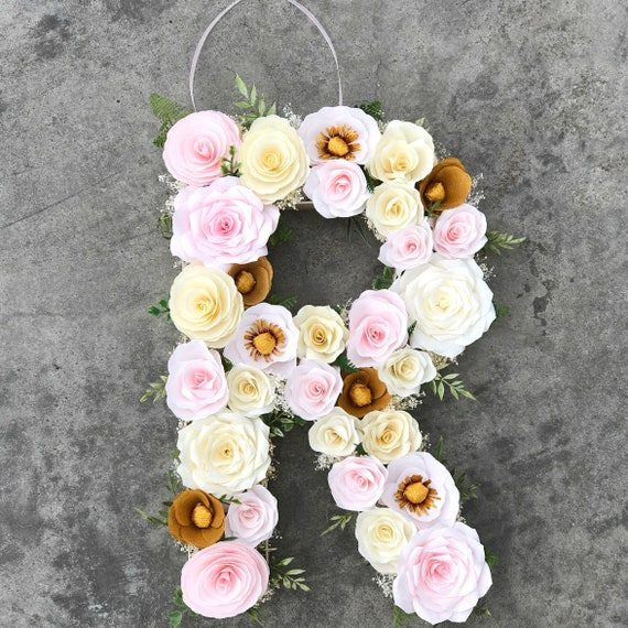 Floral Letter or Number in blush, ivory and gold paper flowers - Customizable Colors
