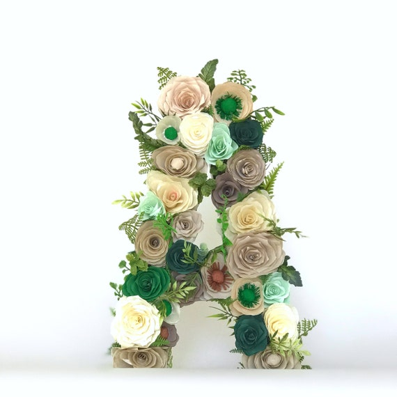 Floral Letter in brown & green paper flowers- Customizable Colors