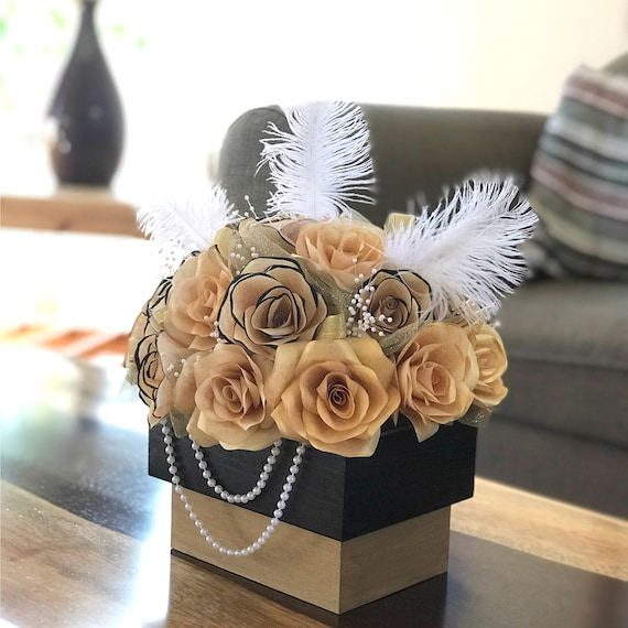 Centerpiece in Black and Gold Handcrafted Paper Flowers - Black and Gold Floral Arrangement - Wedding Table Centerpiece