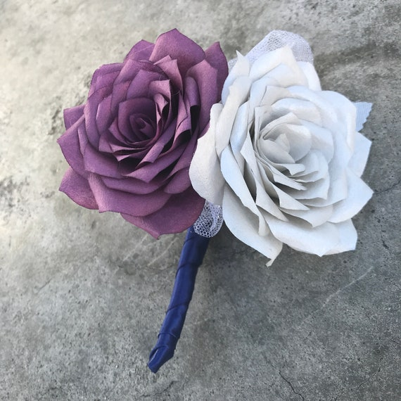 Pin on corsage or boutonniere using handmade filter paper roses - Customizable colors