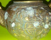 Chinese Yixing Qianlong Brass Bat Censer with lid