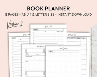 Reading Journal, Book Review, Book Wishlist, Books to Buy, Books to Read, Printable Planner Pages, Filofax Planner Inserts, A5 A4 Letter