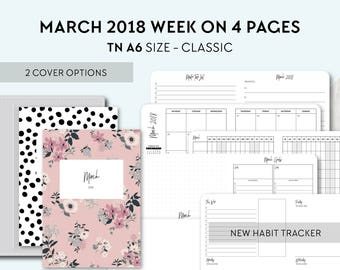 TN A6 Size: March 2018 Week on 4 Pages, Printable Travelers Notebook Insert, A6 Tn, Printable Planner, Weekly, Wo4P