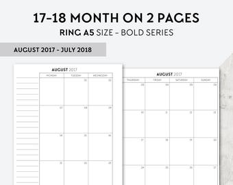BO-A5   2017-2018 Month On 2 Pages Printable Planner Inserts - 2017 2018 Monthly Two Pages A5 Inserts Filofax Calendar Printable Pages