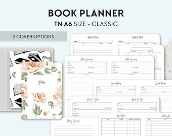 TN A6 Size: Reading Journal, Printable Travelers Notebook Insert, A6 Tn, Planner, Book Review, Book Wishlist, Books to Buy, Books to Read