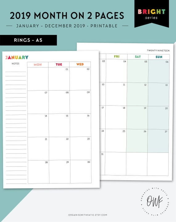 photo regarding Two Page Monthly Calendar Template named 2019 Every month Routine 2019 2 Webpages Every month Planner Printable