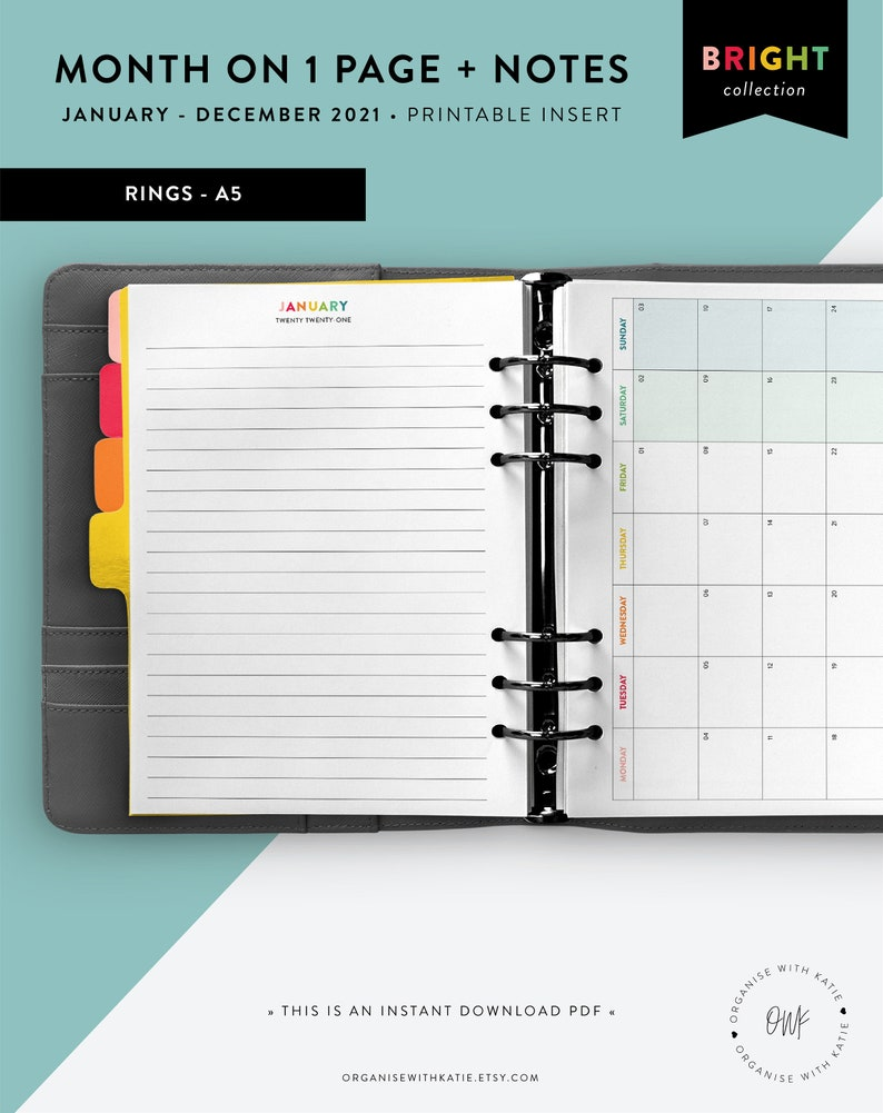A5 2021 Monthly Planner Printable Month on 1 Page Calendar ...