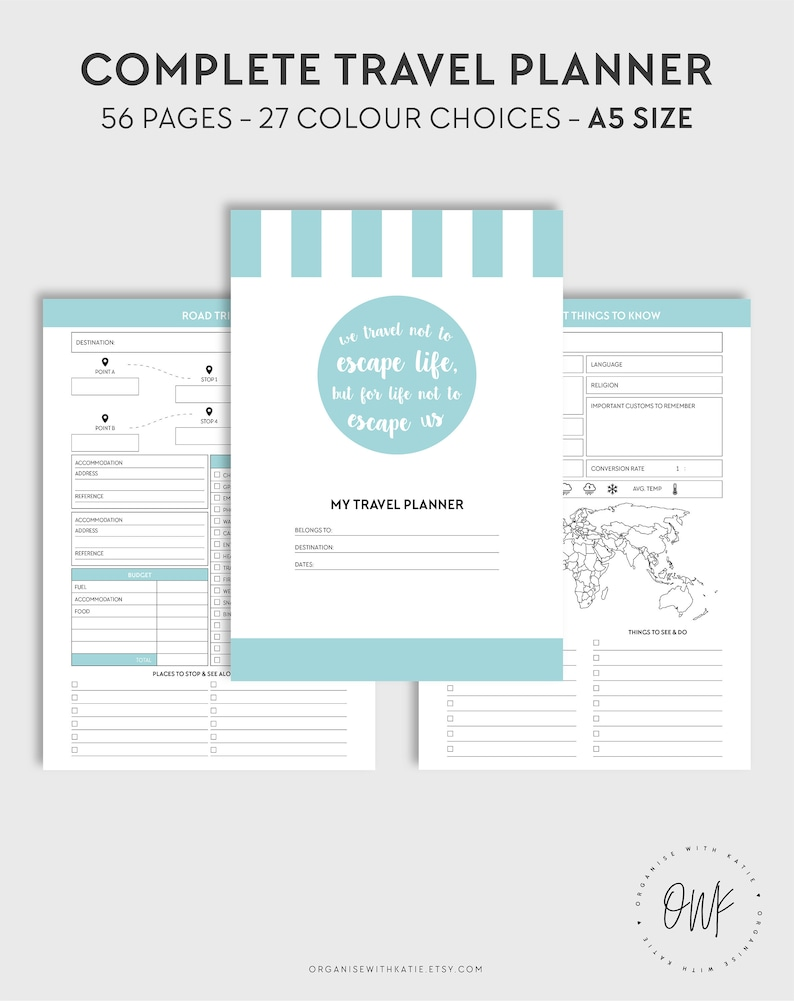 graphic relating to Vacation Planning Printable titled Printable Push Planner Holiday Planner A5 Unique Filofax Planner Inserts - Spending plan, Packing, Flights, Examine, Bucket Record, Magazine