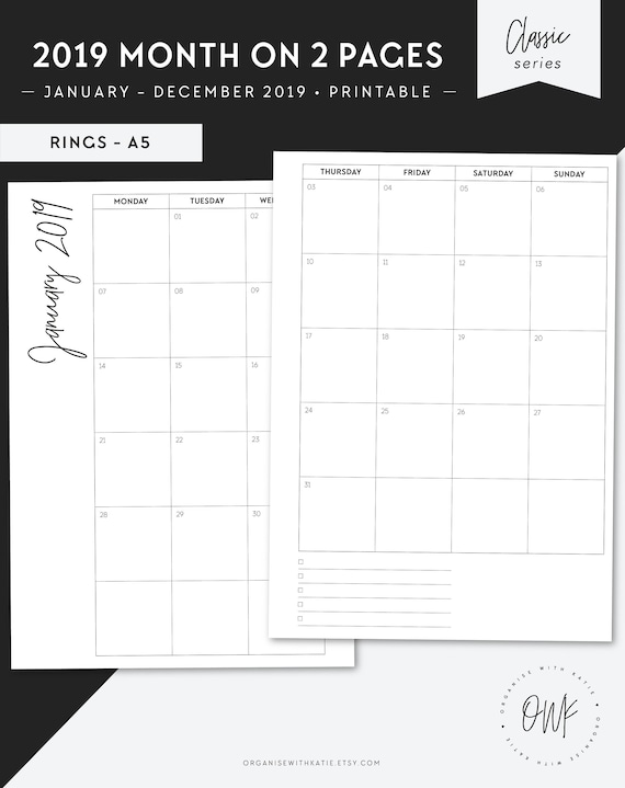 image regarding A5 Planner Printables referred to as A5 2019 Every month Planner Printable, Thirty day period upon 2 Internet pages, Diary Calendar Schedule, Filofax Inserts, Printable Planner Internet pages, 2018 2019 CL-A5
