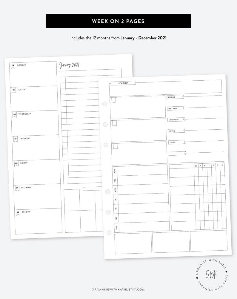 A5 2021 Weekly Planner Printable Week on 2 Pages Calendar ...