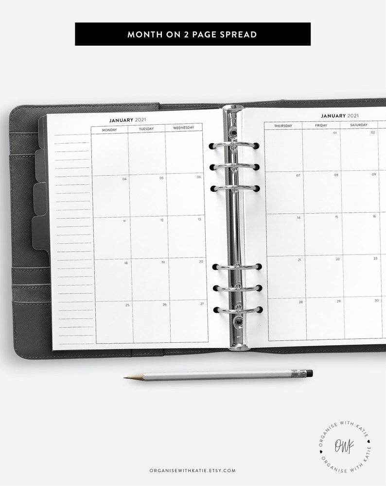 A5 2021 Monthly Planner Printable Month on 2 Pages ...