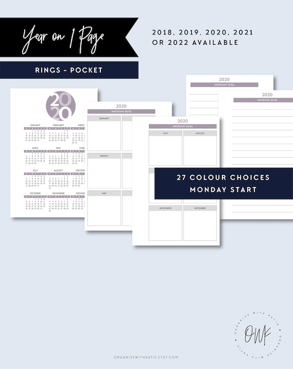 POCKET   2018, 2019, 2020, 2021, 2022 Year on One Page, Year Overview,  Pocket Printable Pages Planner Inserts, Yearly Calendar, Filofax