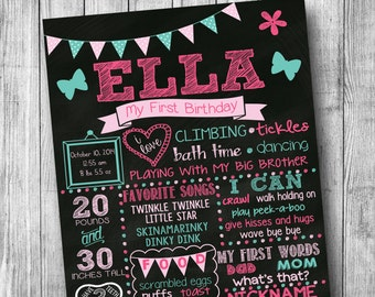 Girl First Birthday Chalkboard Poster Girl Birthday Customized 1st Birthday Chalkboard Custom Printable Sign Teal Pink Butterfly Birthday