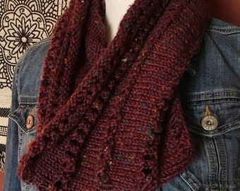 Knitted purple cowl
