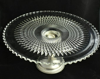 Cake Stand Large 1940s Vintage EAPG Candlewick Cake Plate Sterling Silver Pedestal Early American Glass Elegant Home Decor Wedding Holiday
