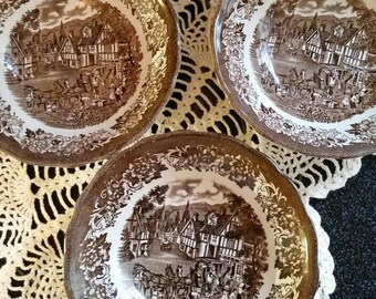 3 Bowl Option Vintage Brown Transfeware Fine Royal Staffordshire Stratford Stage Porcelain Dish Dinnerware England Ironware Replacement