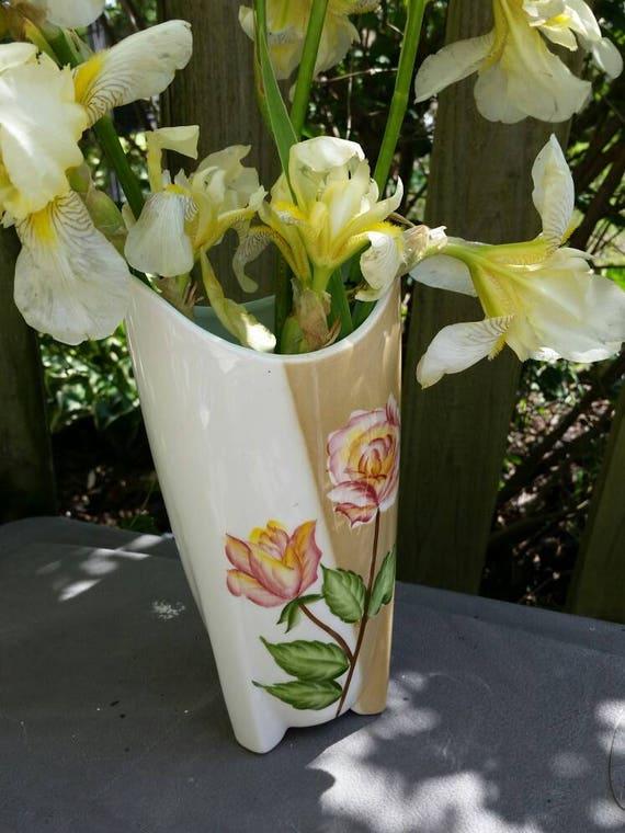 Vase Vintage 30s Nippon Japan 2 Tone Peach Rose Flower Vase