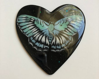 Blue Moth Heart Painting