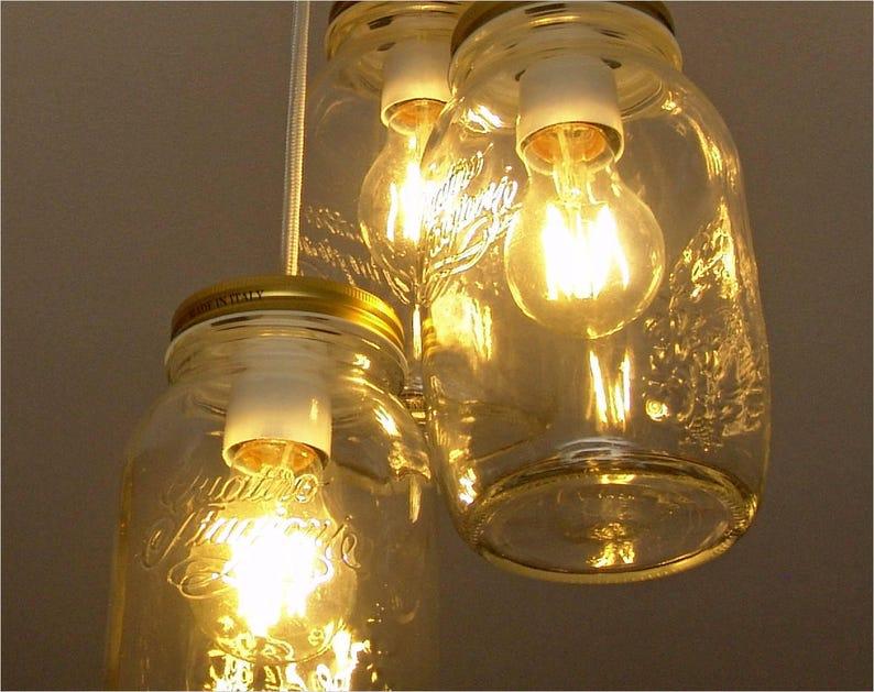 Barattolo di vetro illuminazione illuminazione a sospensione etsy