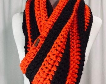 Chocolate and Orange Striped Crochet Infinity Scarf