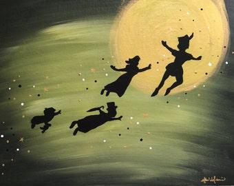 """PETER PAN """"Off To Neverland"""" - 12x16"""" Original Painting"""
