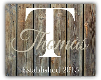 Custom Family Name Faux Wood PRINT personalized art - housewarming -Parents- religious Christmas Gift - Anniversary Wedding
