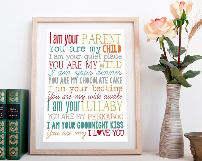 Baby/childrenu0027s Decor. I Am Your PARENT You Are My CHILD Print   Custom  Colors   Boy Wall Art