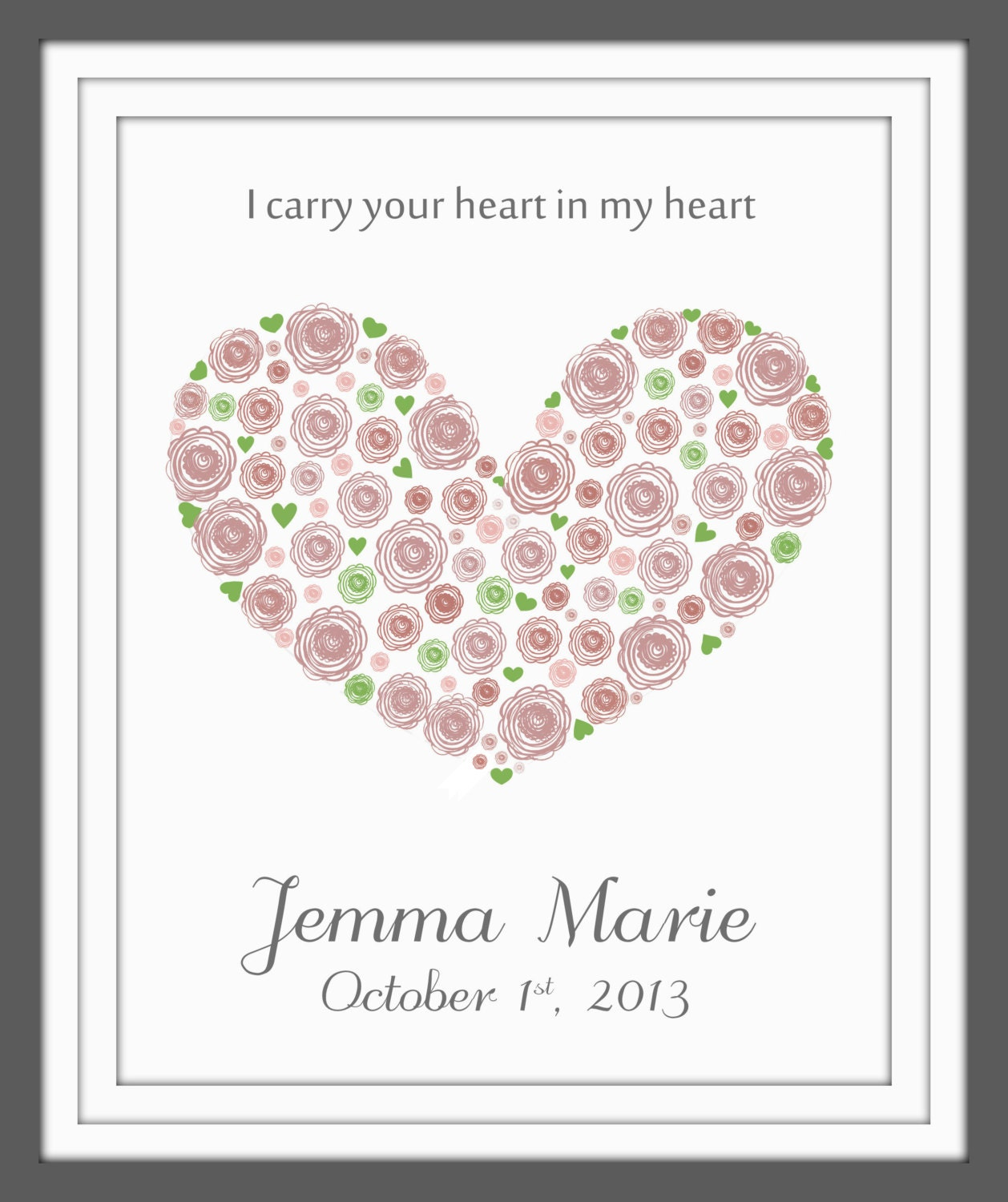 I carry your heart in my heart print newborn gift baby art | Etsy