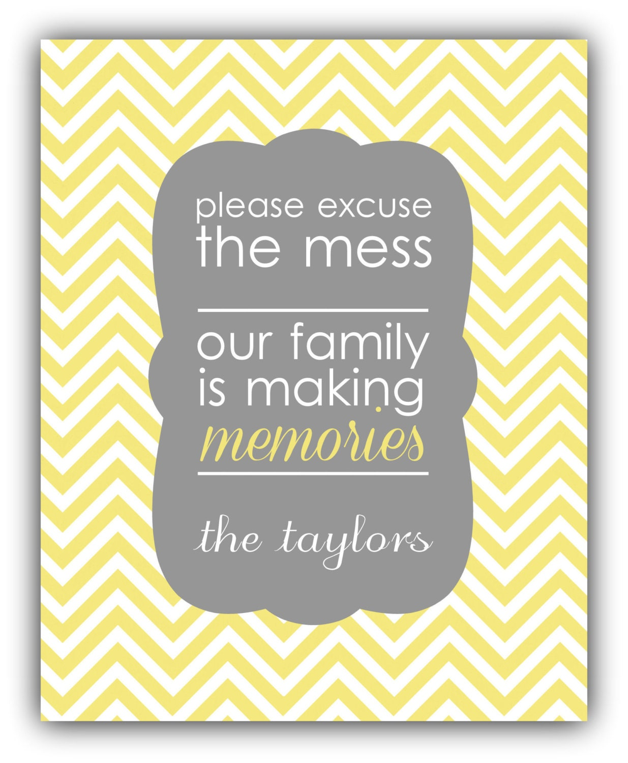 Please excuse the mess family Custom Wall Art -Personalized Family ...
