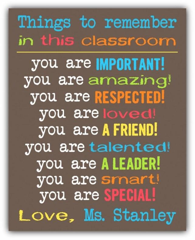 Cosas para recordar en esta aula reglas motivacionales cartel | Etsy