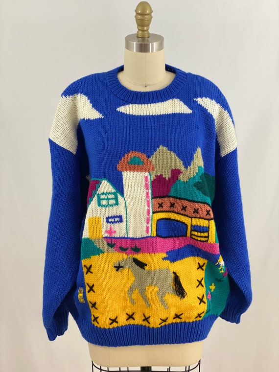 Vintage 80s Novelty Sweater Long Sleeve Pullover S