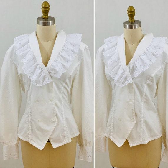 Vintage 80s White Eyelet Blouse Victorian Blouse S