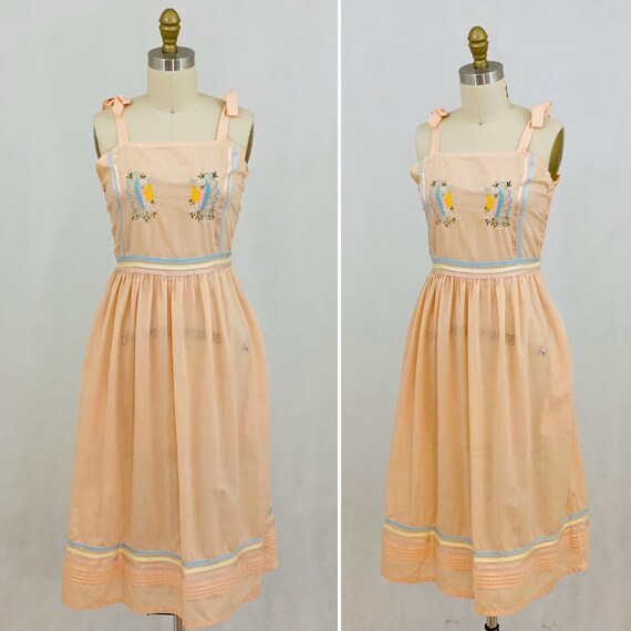 Vintage 70s 80s Prairie Style Sundress Embroidered